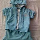 Girls 3-Piece Light Aqua Outfit (9 months)