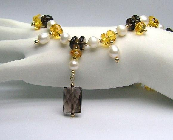 Faceted Smoky Quartz, Citrine & White Freshwater Cultured Pearl Necklace