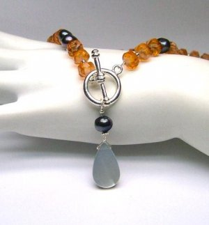 Black Freshwater Cultured Pearl, Amber Glass Beads & Mother of Pearl Lariat Necklace