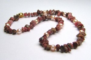 Rhodonite & Peach freshwater cultured pearl layering necklace