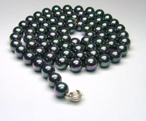 "37"" 10mm Peacock Black South Sea Shell Pearl Necklace - 925 silver"
