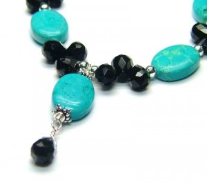 Stabilised Turquoise & Onyx Briolette Necklace