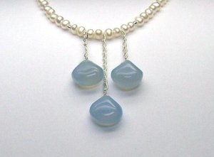 White Cultured Pearls & Blue Chaldedony Drop Necklace - 925