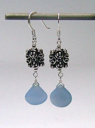 Blue Chalcedony Drop & 925 Silver Earrings