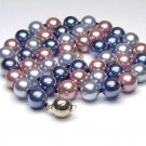 8mm Blue Mauve & Silver South Sea Shell Pearl Necklace - 925 silver
