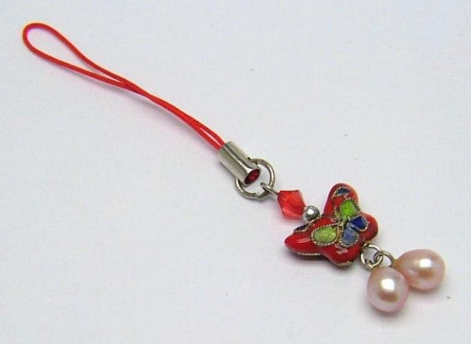 Butterfly closionne & cultured pearl cellphone strap