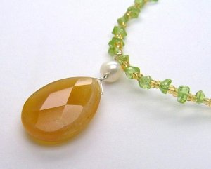 Faceted Orange Agate Drop & Peridot Necklace - 925
