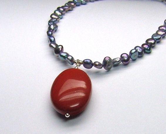 Red Jasper & Cultured Pearl Necklace - 925
