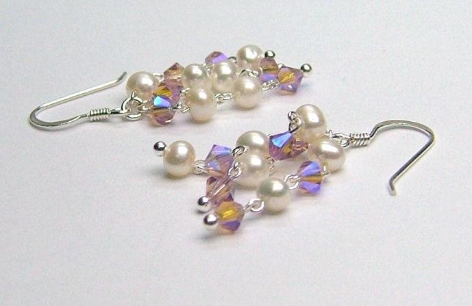 Freshwater Cultured Pearl & Lt Violet Swarovski AB crystal Earrings