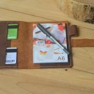 Leather A6 Notepad Case,Personalized Handmade Dairy Planner Folio Folder Cover with Pen