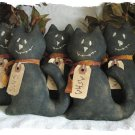 Primitive 5 Whimsical Kats of Halloween Ornie E-Pattern