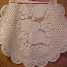 PAIR 2 WHITE LACE 16 IN ROUND FRUIT PATTERN DOILIES