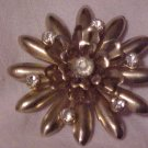 VINTAGE CLEAR RHINESTONE GOLD STARBURST PIN BROOCH