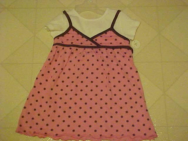 NEW GIRLS SZ 3T PINK BROWN POLKA DOT JUMPER & WHITE TOP