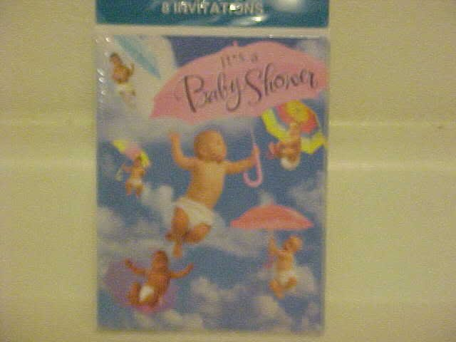 BRAND NEW BABY SHOWER INVITATIONS WITH FLYING BABIES