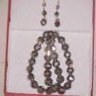 NEW IN BOX SILVER CRYSTAL NECKLACE & PIERCED EARRINGS