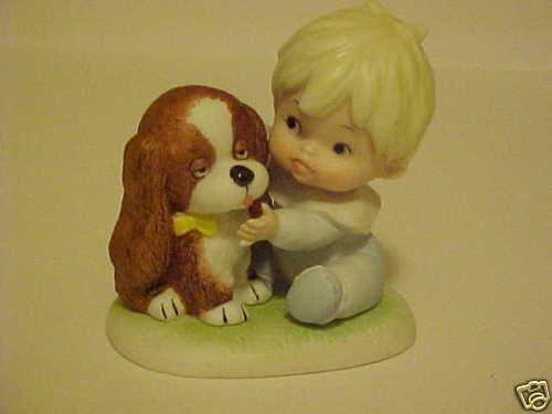 PORCELAIN HOMCO FIGURINE LITTLE BABY BOY & PUPPY DOG