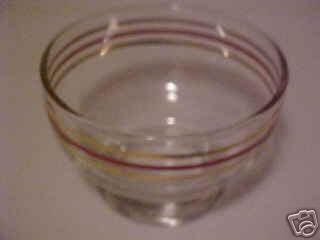 VINTAGE DEPRESSION ERA  RED GOLD BANDED GLASS SHERBET