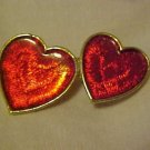 LOVELY SHIMMERY DOUBLE RED HEART GOLD TONE PIN BROOCH