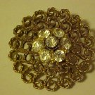 LOVELY GOLD ORNATE ROUND CLEAR RHINESTONE PIN BROOCH