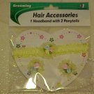 BRAND NEW LITTLE GIRLS YELLOW HEADBAND & PONYTAIL SET