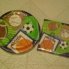 NEW TEAM SPORTS BASEBALL SOCCER PAPER PLATES NAPKINS
