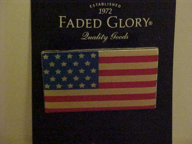 NEW FADED GLORY RED WHITE BLUE AMERICAN FLAG PIN BROOCH