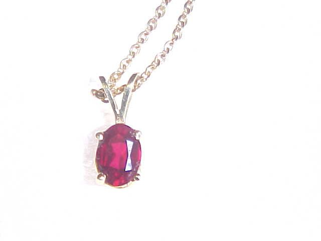 LOVELY GOLD CHAIN RUBY PENDANT NECKLACE