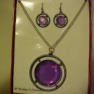 NEW PURPLE FACETED MEDALLION NECKLACE PIERCED EARRINGS