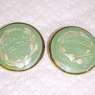VINTAGE 1980S ENAMELED SEAFOAM GREEN PIERCED EARRINGS