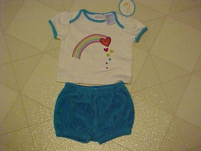 NEW 3-6 MO BABY CONNECTION RAINBOW TEE & TERRY SHORTS