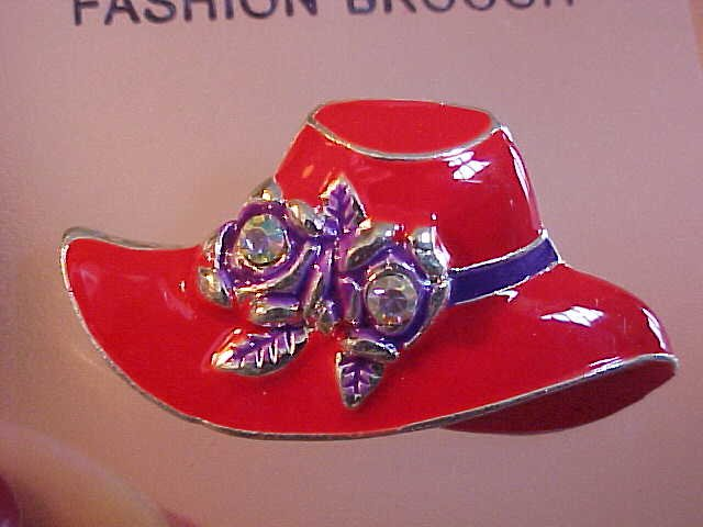 Lovely brand new red hat socieity rhinestone pin brooch for Red hat bling jewelry
