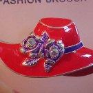 LOVELY BRAND NEW RED HAT SOCIEITY RHINESTONE PIN BROOCH