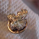 NICE SILVER TONE MOOSE HEAD PIN BROOCH