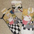 BRAND NEW 4 PC  ITALIAN CHEF OVEN MITT KITCHEN TOWEL DISHCLOTH SET