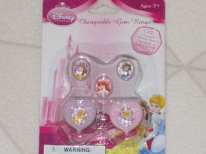 NEW DISNEY PRINCESS 2 PINK  PINK PLASTIC CHANGEABLE CHARM RINGS 5 PRINCESSES