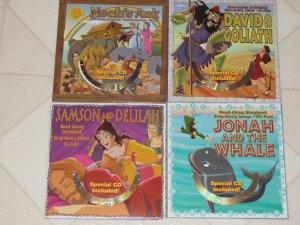 WONDERFUL BRAND NEW SET OF 4 BIBLE STORY CHILDRENS BOARD BOOKS + SING ALONG CD