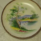 Vintage American Folk Art Hand Painted Dinner Plate Cabin by Woods by S. Kurzuya