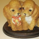 Vintage Homco Masterpiece Porcelain Cocker Spaniel Puppy Puppies Dogs Figurine