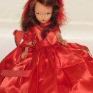 Original Vintage Bisque Nancy Ann Storybook Doll Winter in Red Dress & Hat
