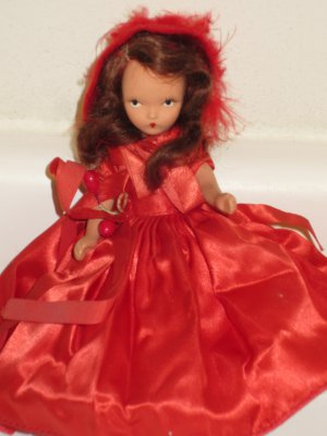 Original Vintage Bisque Nancy Ann Storybook Doll Winter in Red Dress & Hat