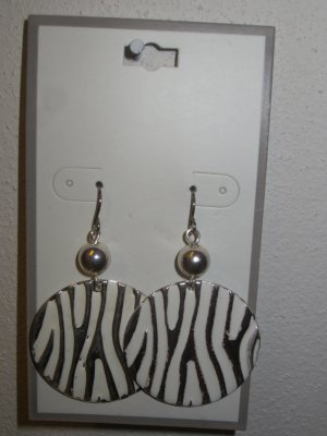 NEW Silver Tone & White Dangling Jungle Pattern Hypo Allergenic Pierced EARRINGS