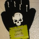 NEW Halloween Goth Black & White Glow in Dark Skull Gloves ONE SIZE FITS MOST