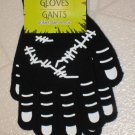 NEW Halloween Black White Glow in Dark Zombie Monster Gloves ONE SIZE FITS MOST