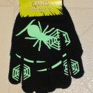 NEW Halloween Black Green Glow in Dark Spider & Web Gloves ONE SIZE FITS MOST