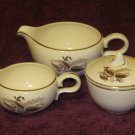 MID CENTURY Fall Leaves Pattern Creamer Cream Pitcher Sugar Bowl Gravy Pitcher