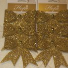 Brand New Set of Six Glittery Gold Bow Christment Tree Ornaments or Gift Bows