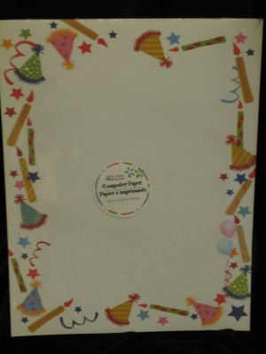 New 40 Sheets Childrens Birthday Party Theme Computer Printer Paper Stationery