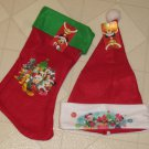 New Disney Mickey Minnie Mouse Pluto Red Felt Christmas Stocking & Santa Hat