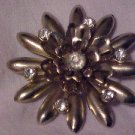 LOVELY VIntage Clear Rhinestone Gold Tone Starburst Pin Brooch Costume Jewelry